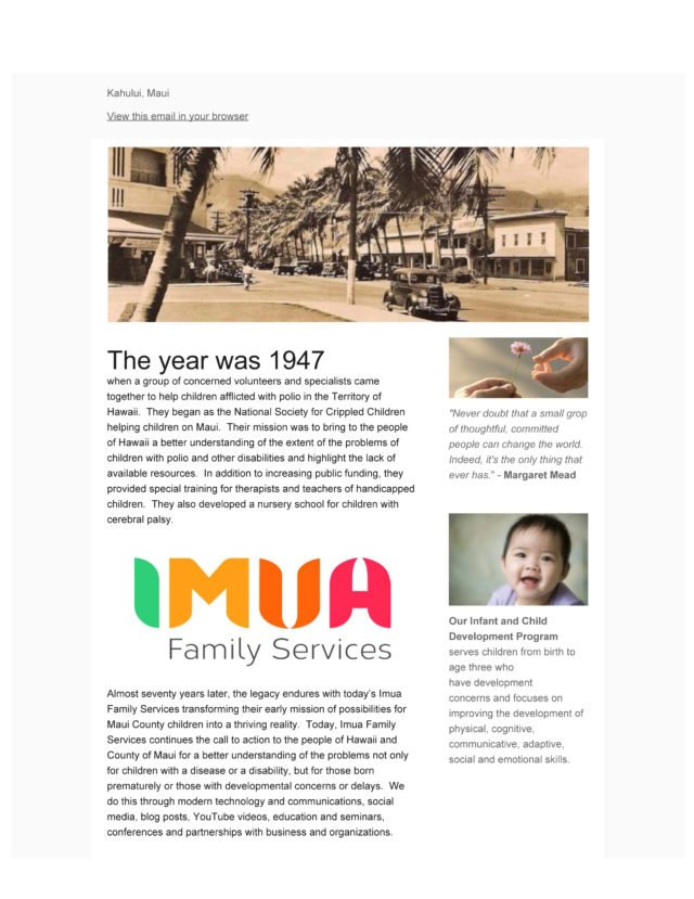 70 Years Moving Maui Forward - Imua's Annual Appeal